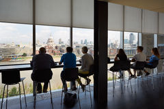 Tate Modern Art Gallery cafe interior view, tourists in London Stock Image