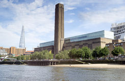 Tate Modern, London. Tate Modern (the disused Bankside power station) London. In the background you can see the shard Royalty Free Stock Images