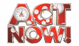 Taten-jetzt Aufruf zum Handelns-Uhr-Zeit-Wörter lizenzfreie abbildung