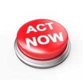 Taten-jetzt roter Knopf Stockbild