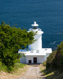 Tater Du Lighthouse Cornwall. The 1960s Tater Du Lighthouse near Lamorna Cove Cornwall England UK Stock Photography