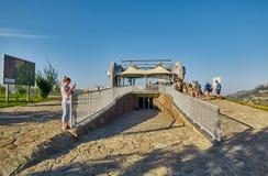 TATEV ARMENIEN - 02 AUGUSTI 2017: Vingar av Tatev, längst kabel C Royaltyfria Bilder