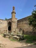 Tatev Monastery, Armenia.Seismographic balancing pillar known as Gavazan stock images