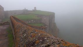 Tatev monastery in fog. Tatev is the famous monastery in Armenia stock video