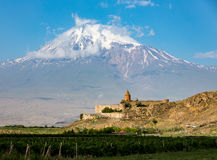 Tatev Monastery. The Tatev Monsastery with Mt Ararat in the background Royalty Free Stock Photos