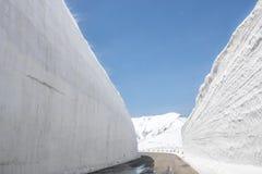 Tateyama Kurobe Alpine Route, snow mountains wall in Toyama Pref. Tateyama Kurobe Alpine Route, the snow mountains wall in Toyama Prefecture, Japan Royalty Free Stock Image