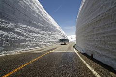 Yuki no Otani. Tateyama Murodo Plain, which stands at an altitude of 2,450m above sea level, receives some of heaviest snowfall in the world. The 500m-long snow Stock Image