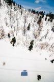 Tateyama Ropeway& x27; тень s, снежный горный склон, разбрасывать дерева Стоковые Фото