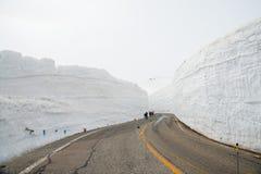 Tateyama ? un posto popolare per la parete della neve, Yuki-nessun-Otani I viaggiatori possono camminare fra le pareti della neve fotografia stock