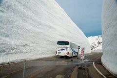 Tateyama ? un posto popolare per la parete della neve, Yuki-nessun-Otani I viaggiatori possono camminare fra le pareti della neve immagine stock libera da diritti