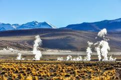 Tatio Geysers in Atacama Desert, Chile. The active Tatio Geysers in the Atacama Desert in Chile Royalty Free Stock Photos