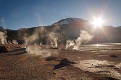 Tatio\'s geyser at sunrise Stock Photography