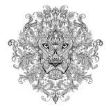 Tatoegering, grafiekhoofd van een leeuw met manen stock illustratie