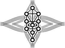 Tatoegering met Sephiroth-boom in geïsoleerde zwarte stock illustratie