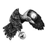 Tatoegering, Raaf met een volle maan op een vleugel vector illustratie