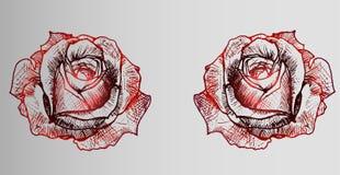 Tatoegering twee rode rozen op een grijze gradiëntachtergrond Stock Foto's