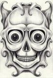 Tatoegering van de kunst surreal schedel royalty-vrije illustratie