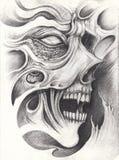 Tatoegering van de kunst surreal schedel vector illustratie