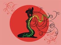 Tatoegering van groene draak Stock Afbeeldingen