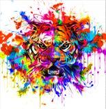 Tatoegering van het tijger de wilde gezicht royalty-vrije illustratie