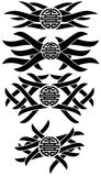 Tatoegeringen met Chinees symbool van dubbel geïsoleerd geluk Stock Afbeelding
