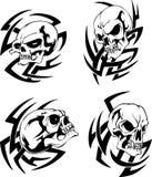Tatoegeringen met schedels royalty-vrije illustratie
