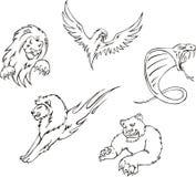 Tatoegeringen - roofdierdieren Royalty-vrije Stock Afbeelding