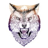 Tatoegerings het hoofdwolf grijnzen Stock Fotografie
