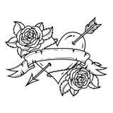 Tatoegerings Rood die Hart door pijl met lint en rozen wordt doordrongen Symbool van Liefde en Hartstocht stock illustratie