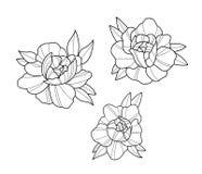 Tatoegeringsbloemen geplaatst het puntwerk royalty-vrije illustratie