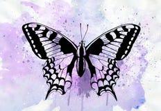 Tatoegeringskunst: Mooie die vlinder met waterverf wordt geschilderd stock illustratie