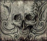 Tatoegeringskunst, schets van schedel met stammenontwerpen Stock Fotografie