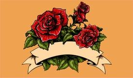 Tatoegeringsrozen en Banner Royalty-vrije Stock Afbeelding