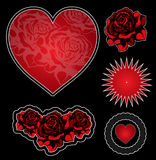 Tatoo elements set. Tatoo design elements set heart and roses Royalty Free Stock Photo