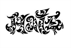 Tatoo van de het embleemHaat van Word Royalty-vrije Stock Foto's