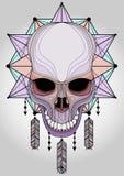 Tatoo van de schedelgrafiek en gekleurd t-shirtontwerp royalty-vrije illustratie