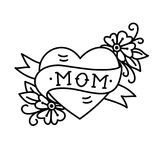 Tatoo With Mom Inscription In Heart Shape Royalty Free Stock Photo