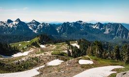 Tatoosh bergskedja i monteringen Rainier National Park royaltyfria foton