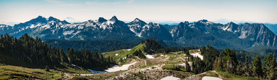 Tatoosh mountain range panorama in Mount Rainier National Park. Walking trails in the foreground lead to the range viewpoint royalty free stock photos