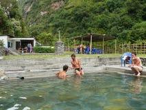 Tatopani bath, Nepal. Annapurna circuit, Kali Gandaki river valley, Nepal Stock Photos
