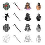 Tatort, Schrott, picklock, Mädchengeisel, verwies Gewehr in der Hand Gesetzte Sammlungsikonen des Verbrechens im Karikaturschwarz stock abbildung