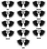 Tatouage chinois d'idéogramme dans le noir Photographie stock