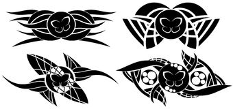 Tatouage décoré de papillon dans le noir Image stock