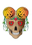 Tatouage d'Art Surreal Pumpkin Skull Halloween illustration libre de droits