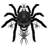 Tatouage de crâne d'araignée noir et blanc illustration libre de droits