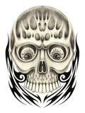 Tatouage de crâne d'art Photo libre de droits