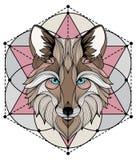 Tatouage de graphiques de loup et conception colorés de T-shirts illustration de vecteur