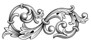 Tatouage de modèle gravé par rouleau victorien baroque d'ornement floral de monogramme de frontière de cadre de vintage rétro cal illustration libre de droits
