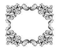 Tatouage de modèle gravé par rouleau victorien baroque d'ornement floral de monogramme de frontière de cadre de vintage rétro cal Photo stock