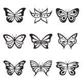Tatouage de papillon d'insecte et vecteur animaux noirs d'icône de silhouettes Images libres de droits